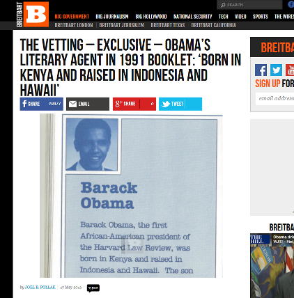 Breithbart Exclusive – Obama's Literary Agent in 1991 Booklet: 'Born in Kenya and raised in Indonesia and Hawaii'