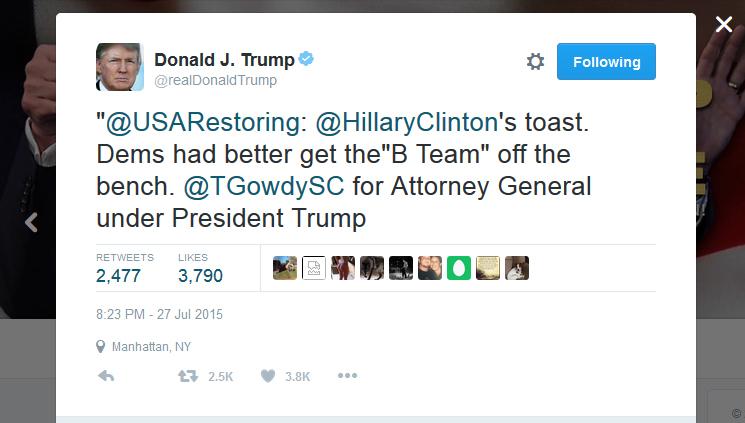 Trump Tweet naming Trey Gowdy AG
