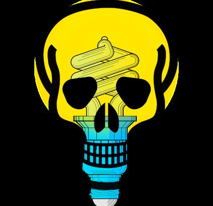 skull & crossbones over CFL bulb